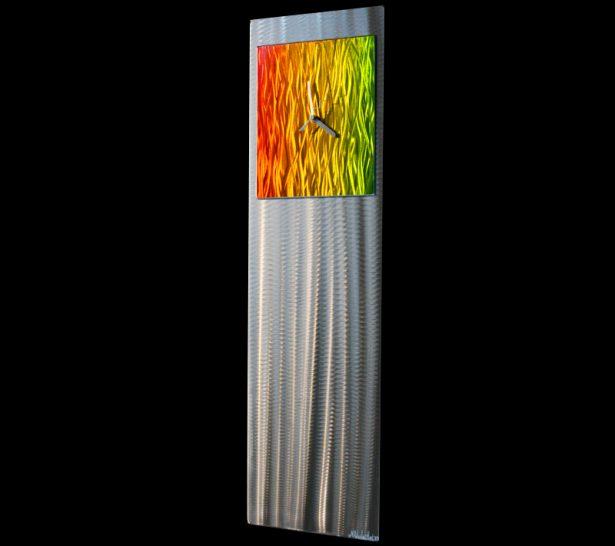 Apple Green/Yellow/Orange Metal Clock - our artisan Fine Metal Art