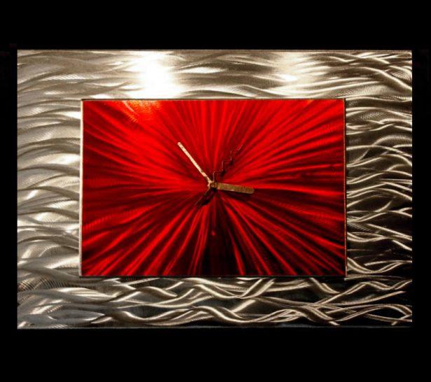Red Modular Clock - our artisan Fine Metal Art