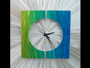 Splice Clock Green - our artisans Fine Metal Art
