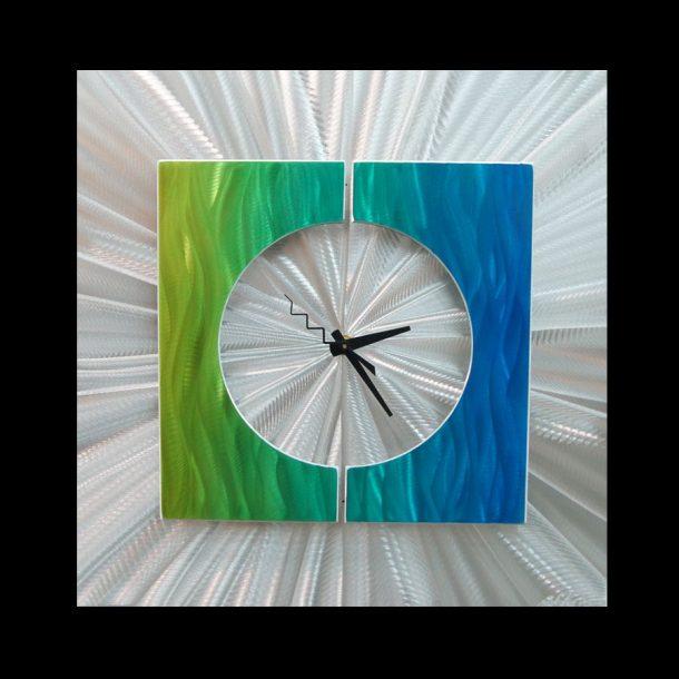 Splice Clock Green - our artisans Fine Metal Art