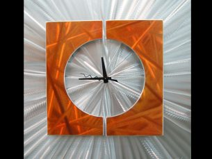 Splice Clock Orange - our artisans Fine Metal Art