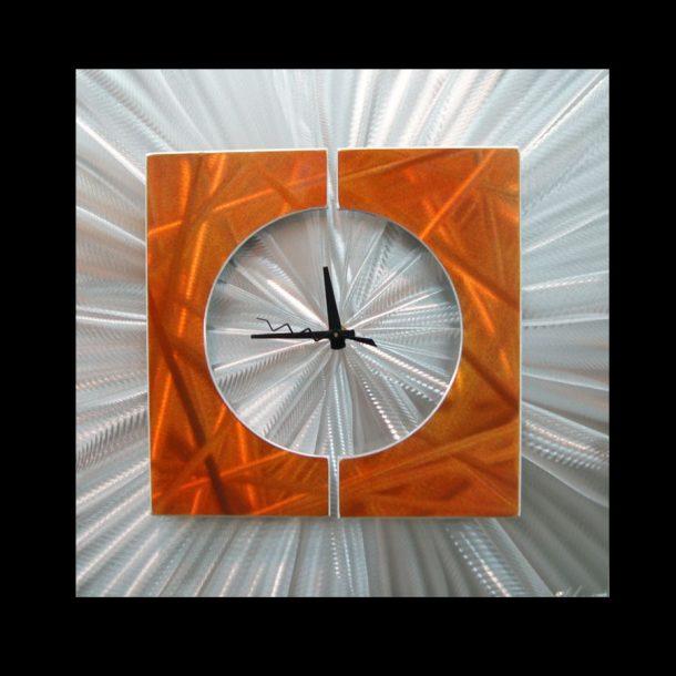 Splice Clock Orange - our artisans Fine Metal Art