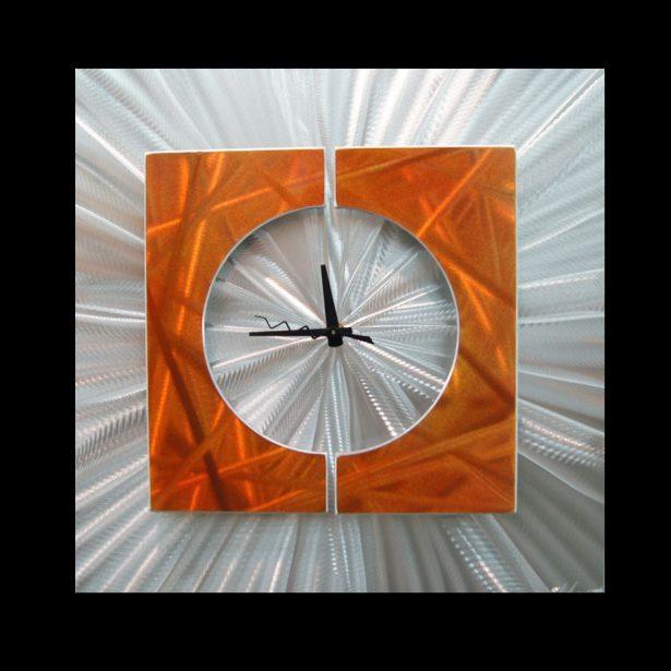 Splice Clock Orange - our artisan Fine Metal Art