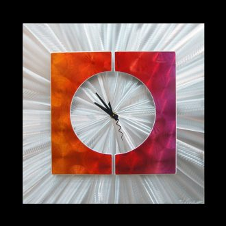 Splice Clock Pink - our artisan Fine Metal Art